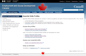 Visit Employment and Social Development Canada's website for more details on Essential Skills Profiles